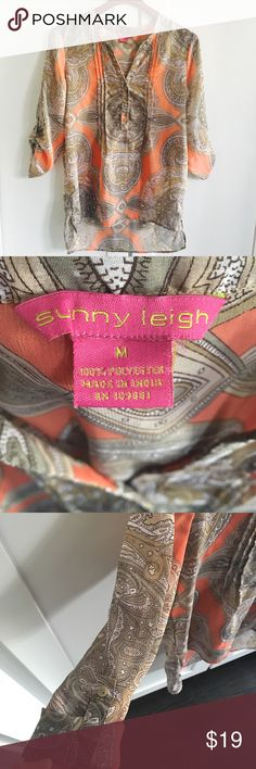 Sunny Leigh Paisley Peach Coral Tan Hi-lo Tunic Sunny Leigh Paisley Peach Coral Tan Hi-lo Tunic. Worn twice. Sheer so I usually wear a nude cami under it.  Very light and breezy. Perfect for spring and summer! ☀️ Sunny Leigh Tops Blouses