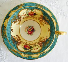 Exquisite Vintage Aynsley English Fine Bone China Teacup & Saucer Tea Set Ornate Gilding with Turquoise Ground