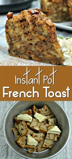 French Toast Casserole, but have time to let it sit overnight? Not to worry, with this Instant Pot French Toast will be ready in no time! We took french toast bake to the next level and used some Cinnamon Swirl Bread to make it into a Cinnamon Roll French Breakfast Appetizers, Breakfast Dessert, Breakfast Recipes, Dessert Recipes, Breakfast Casserole, Breakfast Toast, Breakfast Ideas, Brunch Food, Dinner Dessert