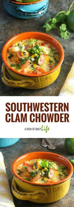 Southwestern Clam Chowder...a delicious twist on the classic New England Clam Chowder recipe with roasted Poblano peppers and fire roasted tomatoes. #AD #TeamDairyNE | #soup | #seafood | #Southwestern | #chowder