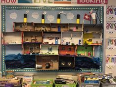Shoebox diorama of the Titanic! Every student designed a passengers room, a dining room or even the boilers and crows nest! Shoe Box Diorama, Titanic Model, Crow's Nest, Pipe Dream, Year 2, Activities, Crows, Dining Room, Student