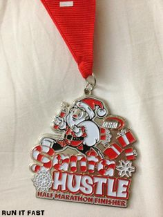 Indianapolis Santa Hustle Half Marathon Medal (2012) | Run It Fast
