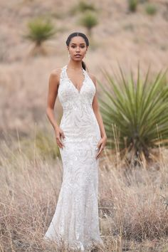 Style: C592 | Allure Bridals Bridal And Formal, Formal Wedding, Couture Collection, Bridal Collection, Mermaid Beach Wedding Dresses, Allure Couture, Halter Gown, Satin Tulle, Formal Gowns
