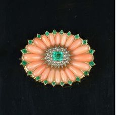 A late Victorian coral, emerald and diamond brooch,