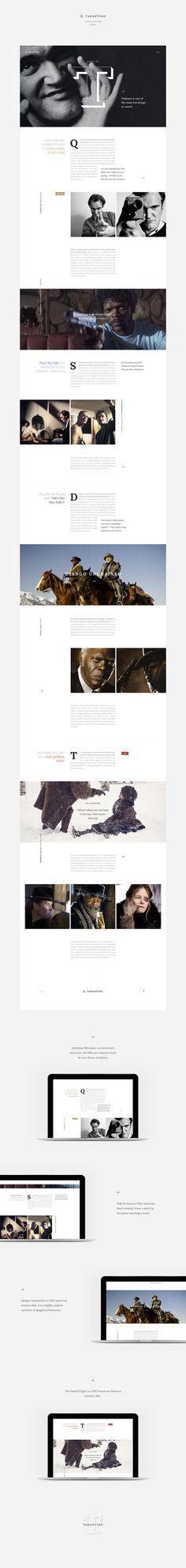 Tarantino personal website concept - Web Design - Editorial Design translated to Web, Big images, Clean, Typographic Minimal Web Design, Design Web, Web Design Mobile, Blog Design, Design Ideas, Website Design Inspiration, Website Design Layout, Web Layout, Layout Design