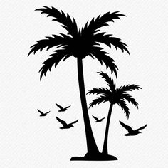 65 New Ideas For Palm Tree Vector Islands Tree With Birds Tattoo, Tree Branch Tattoo, Palm Tree Tattoo Ankle, Palm Tree Outline, Palm Tree Crafts, Palm Tree Vector, Vector Trees, Tree Svg, Tree Tree