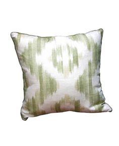 Pillow in  SuzanneRheinstein*Hollyhock    for Lee Jofa   Ikat de Lin, Green