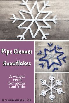 Pipe Cleaner Snowflakes - Michigan Mama News Michi / Handmade Christmas Crafts, Holiday Crafts, Christmas Ornaments, Pipe Cleaner Art, Pipe Cleaners, Diy For Kids, Crafts For Kids, How To Make Snowflakes, Snowflake Craft