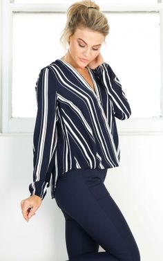 Time To Wine Down top in navy stripe