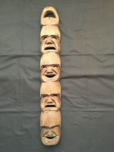 Carved Wood Face Mask Decor mini masks in Brown Smiling / Sad Faces Wood Carving Faces, Sad Faces, Carved Wood, Masks, Detail, Brown, Mini, Decor, Art