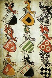 Coat of arms - Wikipedia, the free encyclopedia Highlights:  Heraldry is at this point only recently made hereditary Worn on shields Pretty simple at his point in history, when it became hereditary, each son added something to his father's heraldry