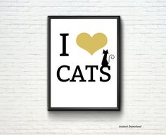 Instant DownloadPrintable Poster Wall Art I LOVE CATS by MokileArt