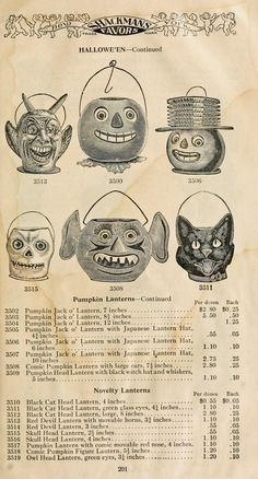 "Vintage Ephemera: Catalog page, ""Shackman's Favors,"" Halloween Novelties, 1911 posted by CD"