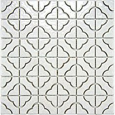 SomerTile Castle White Porcelain Mosaic Tile (Pack of 10) = 9.5 sf = $16.31/sf    Today $154.99  Item #: 14197260        This Castle mosaic tile by SomerTile has a unique, rustic look that will appeal to those looking for a tile with a striking shape, and inviting color. The slight off-white of this tile has a subtle texture and a light crackle effect....more