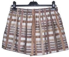 Retro Check Cotton Mix High Waisted Shorts Large NEW Summer White Brown Mix
