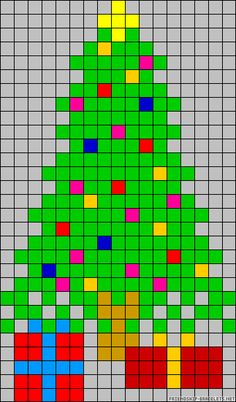 Christmas tree perler bead pattern, going to do this to my front door with squares of vinyl Seed Bead Patterns, Perler Patterns, Loom Patterns, Beading Patterns, Quilt Patterns, Cross Stitch Designs, Cross Stitch Patterns, Cross Stitching, Cross Stitch Embroidery