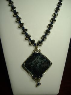 Sterling silver wire wrapped glass tile on Chinese and Swarovski crystal necklace