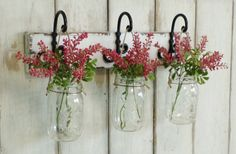 New...Rustic Wood Shelf...Farmhouse Wall Decor...3 Hanging Mason jars..Candle Lantern..Made to order