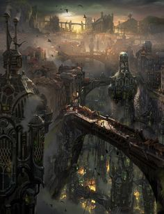 Steampunk city #FantasyLandscape