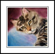 LOVE EYES - TABBY CAT ART FRAMED LIMITED EDITION PRINT DREW STROUBLE CATMANDREW