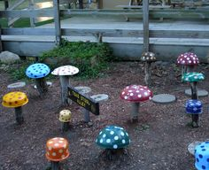 Toad Stool Garden - Paint old dishes and screw them to stumps for a cute toad stool garden.  We saw this on vacation.