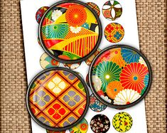 Oriental Japanese Printable Circle Images 30mm 1.5inch, 1 inch, 25mm, 20mm Pendant Images, Bottle cap images Digital Collage Sheets