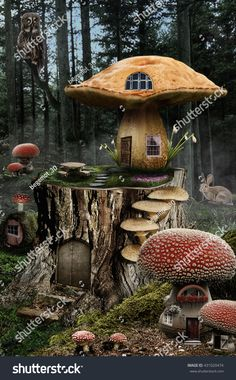 series, fairy house (mushroom), a fictional illustration of house and the situation in the form of a collage of photos Mushroom House, Mushroom Art, Magical Forest, Forest Fairy, Fantasy Art Landscapes, Fantasy Landscape, House Illustration, Illustrations, Doll House Crafts