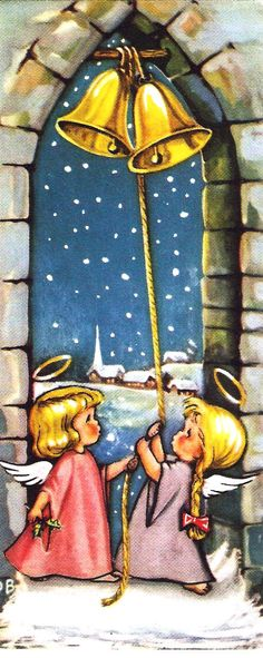 Vintage Christmas Card Angels Ringing Bells. $5.00, via Etsy.
