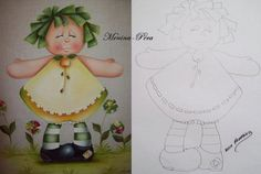 BELA PINTURAS E ARTESANATOS: RISCOS MENINAS FRUTAS Pintura Country, Arte Country, Tole Painting, Fabric Painting, Painting On Wood, Paper Piecing Patterns, Doll Patterns, Primitive Crafts, Wood Crafts