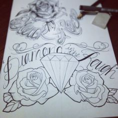 Diamond in the rough #tattoo #diamond #roses
