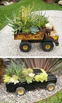 Repurposed old rusty toy metal trucks into succulent garden pot planters; outdoor; Upcycle, Recycle, Salvage, diy, thrift, flea, repurpose, refashion!  For vintage ideas and goods shop at Estate ReSale  ReDesign, Bonita Springs, FL
