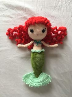 Excited to share this item from my shop: Little Mermaid Ariel Doll Ariel The Little Mermaid, Ariel Mermaid, Mermaid Disney, Arm Crocheting, Ariel Doll, Granny Square Afghan, Handmade Items, Handmade Gifts, Crochet Unicorn