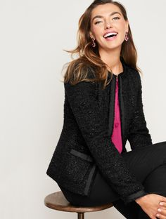 With inspiration from classic French style, and a touch of sparkle, this jacket will elevate any outfit to occasion status. Perfect for pairing with a LBD or dress pants and heels. Both timeless and unique, it truly is a special piece. | Talbots