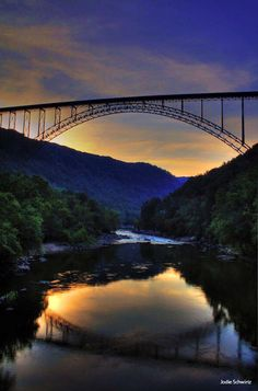 The New River Gorge Bridge, West Virginia white water rafting. Places To Travel, Places To See, West Va, Key West, New River Gorge, Skier, Road Trip, To Infinity And Beyond, Covered Bridges