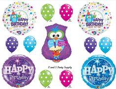 POLKA DOT OWL Birthday party Balloons Decorations Supplies Purple Girl 13 pcs