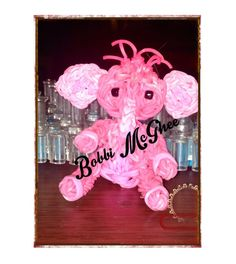 PINK ELEPHANTS. Designed and loomed by Bobbi McGhee. (Rainbow Loom FB page)