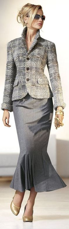 gray jacket and pencil skirt work @roressclothes closet ideas women fashion outfit clothing style Fashion for the Office: