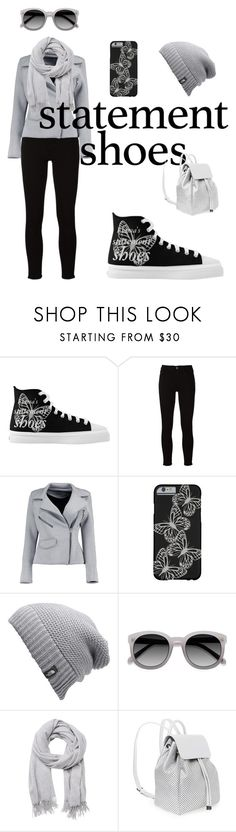 """""""Butterfly Statement Shoes Fashion Set"""" by technotext ❤ liked on Polyvore featuring Frame, Boohoo, The North Face, Witchery, Steve Madden, black, grey, butterfly, statementshoes and greyblack"""