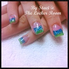 Blue and green summer time nails