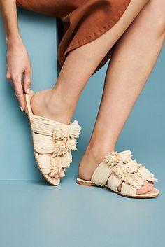 Pour La Victoire Raffia Slide Sandals