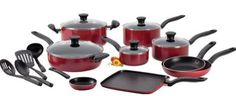 T-fal A777SI64 Initiatives Nonstick Inside and Out Dishwasher Safe 18-Piece Cookware Set: comprehensive set with deep discounted price.