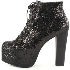 Jeffrey Campbell Glitter Lita High Heel Platform Boot ($94) ❤ liked on Polyvore featuring shoes, boots, blablabla, booties, heels, black, heel boots, black boots, black platform boots and black shoes
