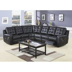 Wildon Home Double Reclining Sectional in Black