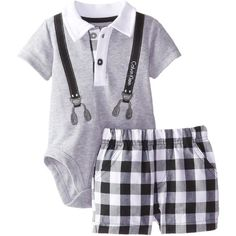 Calvin Klein Baby-Boys Newborn Gray Polo with Suspenders and Plaid Shorts Baby F, Cute Baby Boy, Cute Baby Clothes, Baby Boy Newborn, Baby Kids, Babies Clothes, Little Boy Outfits, Baby Boy Outfits, Cute Outfits