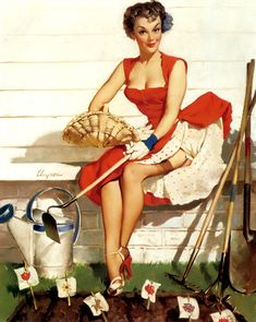 """Worth Cultivating"" By Gil Elvgren 1952"