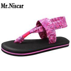 Mr.Niscar 2017 Summer Women Sandals Flip Flops Colorful Striped Flat Casual Sandal Woman Slipper Womens Slides Shoes for Female