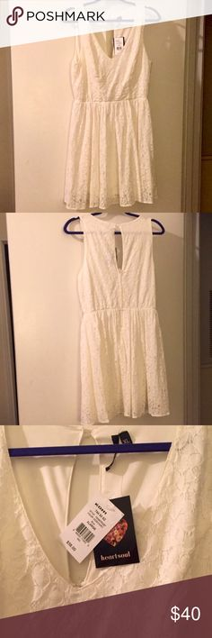 NWT IVORY LACE OVERLAY FULLY LINED DRESS Absolutely gorgeous NWT IVORY v-neck Lace overlay fully lined dress with zipper back and one top back button as seen in photos. The dress is a juniors XL & would be the perfect addition to your closet for spring and summer. You could partner the ivory dress with nude heels and a colorful cardigan for a long leg look with a pop of color! HeartSoul Dresses Midi