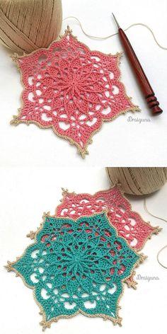 Wispweave hexagon crochet crochet hexagon stitchingmanualidades wispweave how to crochet bullion stitch border Crochet Squares, Motif Mandala Crochet, Crochet Snowflake Pattern, Crochet Motifs, Crochet Blocks, Crochet Snowflakes, Thread Crochet, Crochet Crafts, Crochet Doilies