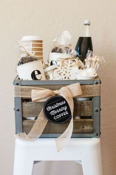 Perfect for friends or family hosting guests this holiday season, this gift contains everything one needsto serve a crowd. Fill it up with your favorite beans and a sweet homemade treat! Get the tutorial atThe TomKat Studio. What you'll need: Wooden crate ($12; amazon.com); Burlap ribbon ($9; amazon.com);Initial coffee mugs ($10; amazon.com); To-go coffee cups ($16; amazon.com); Stir sticks ($5; amazon.com)