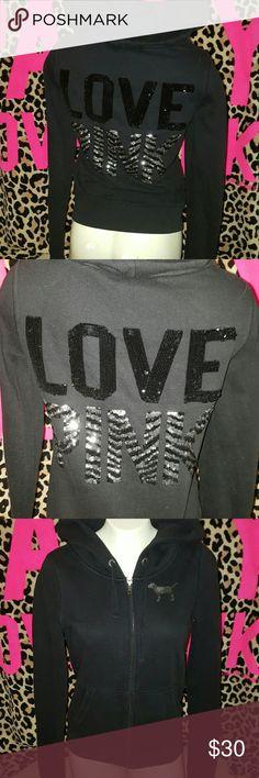 Vs pink bling hoodie Guc size small sequin hoodie.....black and zebra print PINK Victoria's Secret Tops Sweatshirts & Hoodies